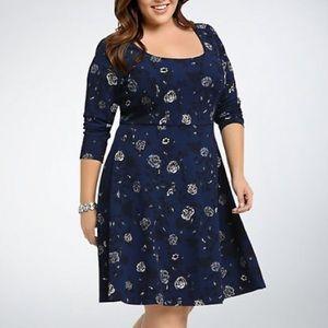 Torrid Blue Floral Textured Skater Dress
